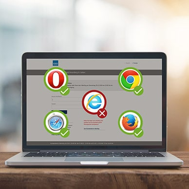 Laptop zeigt mit dem eBanking kompatible Browser-Icons